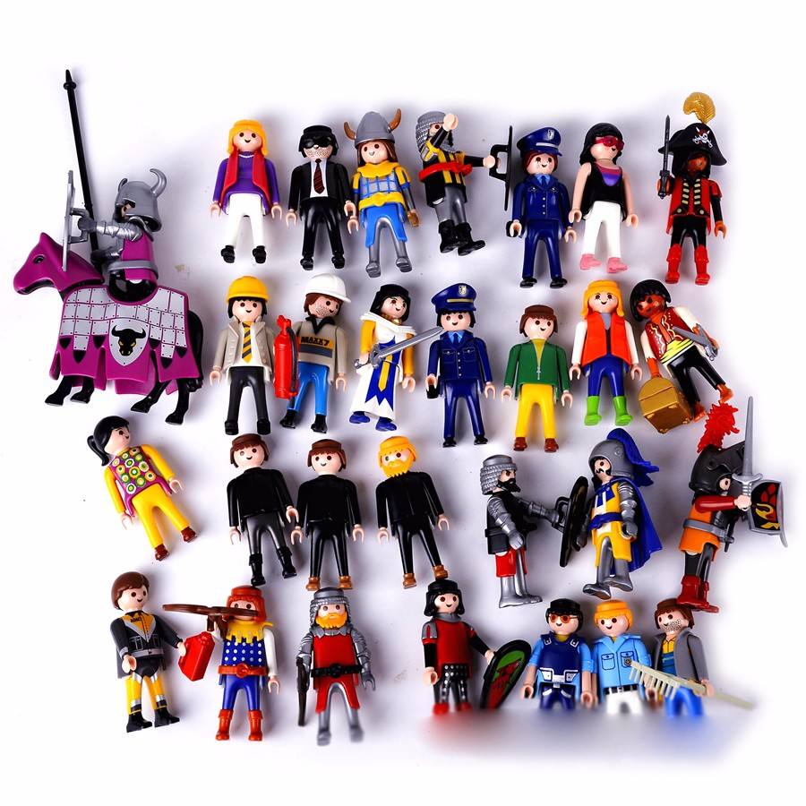 7.5CM 10Pcs Cartoon Toy Playmobil Kids Children'S Birthday Christmas Gift Action Figure PVC Retro Boy Girl Model Toy