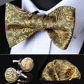 BZP14T Olive Gold Paisley Men Silk Self Bow Tie handkerchief Cufflinks set Pocket Square Classic Party Wedding