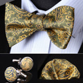 Bzp14t оливковое золото пейсли мужчины самостоятельная галстук-бабочку платок запонки комплект карманный площадь классический ну вечеринку свадьба