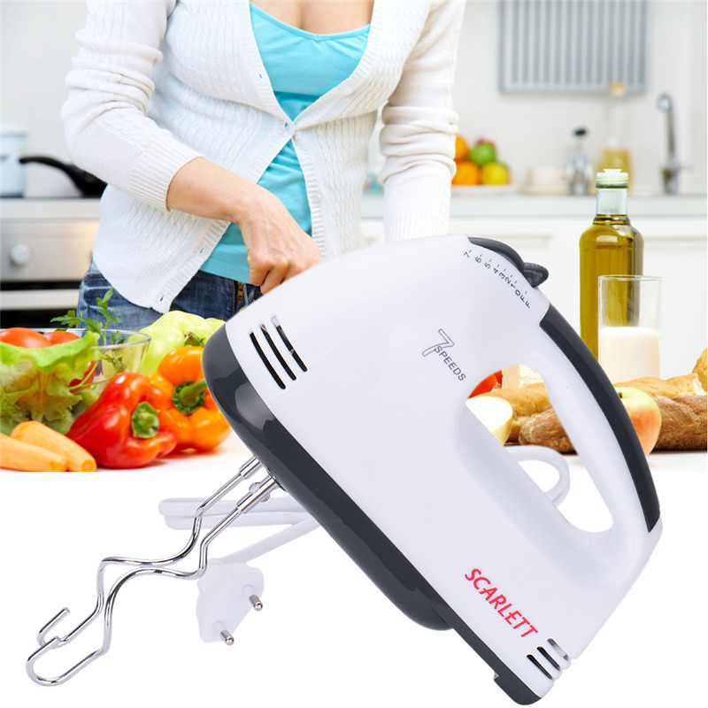 7 Speeds Hand Mixer 180W White Egg Beaters Electric Mixer EU Plug Kitchen Supplier