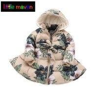 2017 Winter Girl's Long Coat Graceful Vintage Floral Parkas Baby Kids Children Clothes 2 9yrs Christmas Princess Hooded Jacket