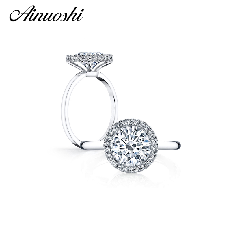 AINUOSHI Round Cut 4 ct Zircon 925 Sterling Silver Rings for Women Wedding Anillos Anel Aneis Fashion Jewelry men wedding band cz rings jewelry silver color anillos bague aneis ringen promise couple engagement rings for women