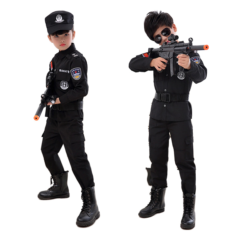 Kids Cosplay Costumes Policeman Swat Special Forces Clothing Set for Toddler Boys Military Uniform Army Suit Tactical Clothes