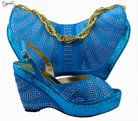 New arrival ladies pumps and bag series blue shoes and handbag with rhinestones for party lady MM1005