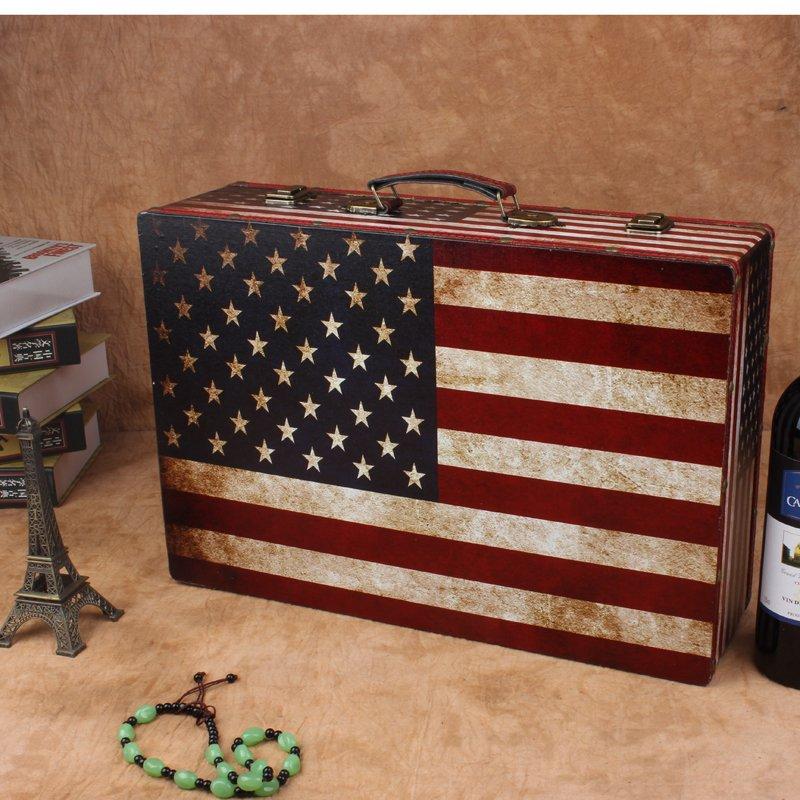 Wedding Photography Presentation Boxes: Vintage American Flag Wooden Suitcase Retro Window Display