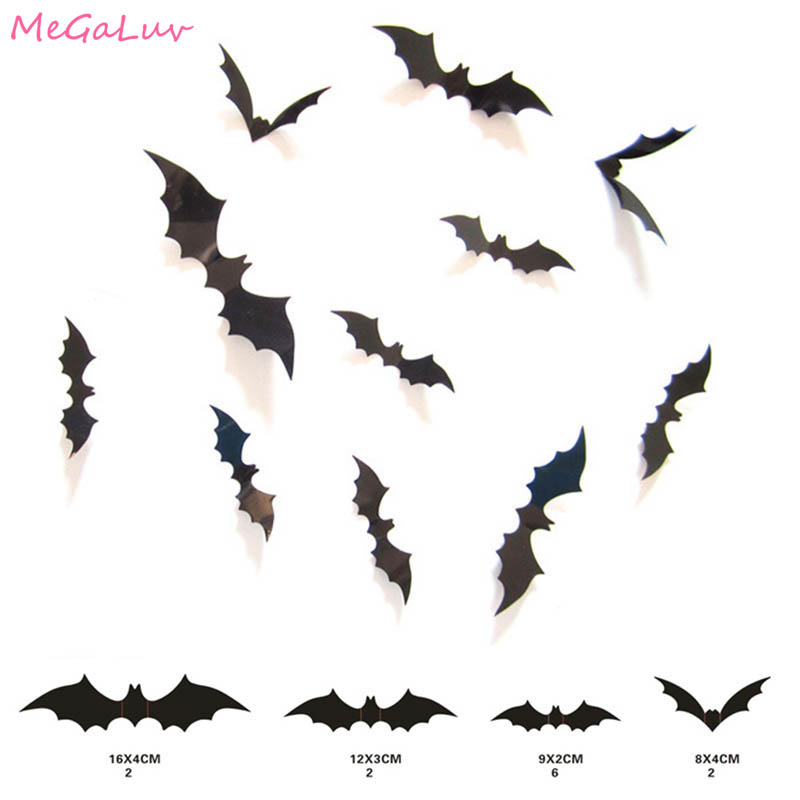 12Pc/set Halloween Decoration 3D Black PVC Bat Halloween Party DIY Decor Wall Sticker Bar Room Halloween Party Scary Decos Props
