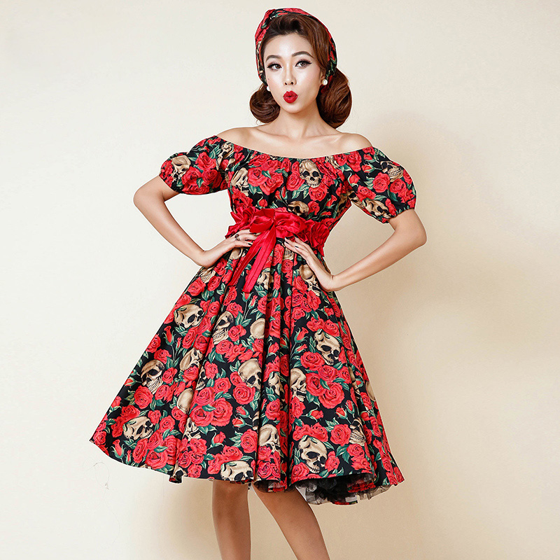 0264 1950s Rockabilly pinup fashion classic elegant party ...