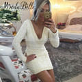 Short White Lace Pearls Cocktail Dresses Long Sleeves Robe De Cocktail V-Neck V Back Party Dresses Prom Formal Gowns Dresses