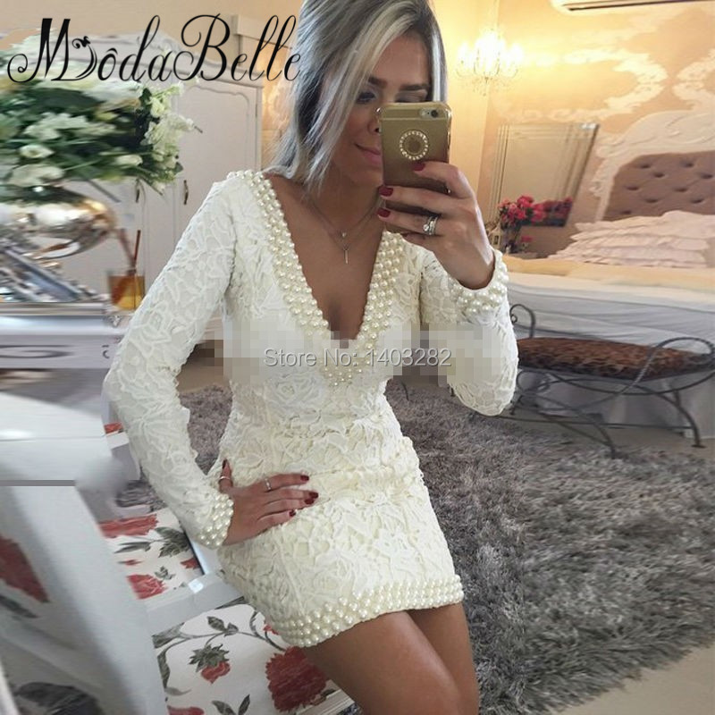 Short White Lace Pearls font b Cocktail b font font b Dresses b font Long Sleeves