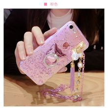 Для Samsung Galaxy S5 S6 S7 S8 Edge Plus Note 4 5 в Корейском стиле Роскошные Симпатичные палец кольцо пряжки жемчужные кисточкой цепь мягкий чешуйчатый случае