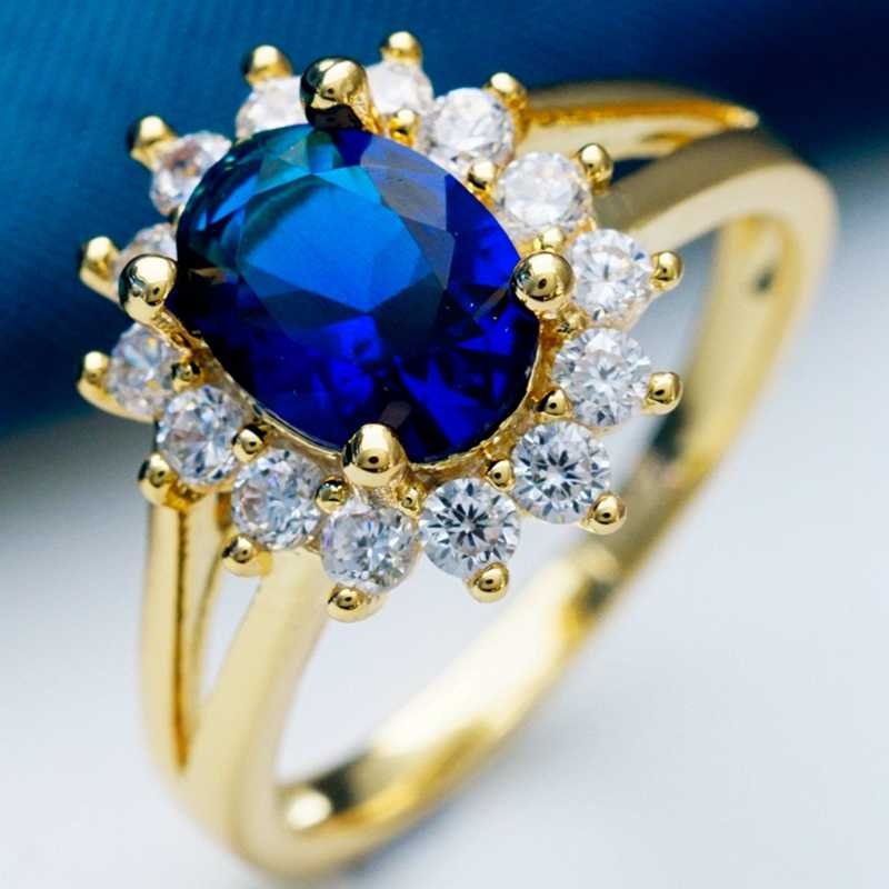 Princess Wedding Noble Rings for Women Dark Blue Zircon Crystal Gold Filled Engagement Flower Fashion Jewelry Ring Dropshipping