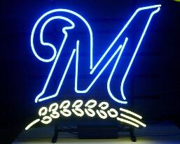 Custom Made M Letter Glass Neon Light Sign Beer Bar image