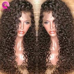 ЕВА вьющиеся волосы Full Lace натуральные волосы парики предварительно сорвал с ребенком волосы бесклеевого парики для черный Для женщин
