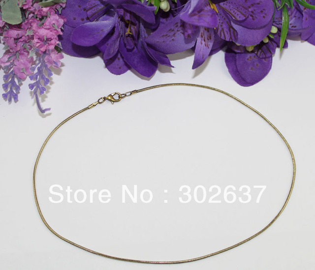 """FREE SHIPPING12PCS 1.5mm antiqued bronze snake chain necklace 18"""" #22553"""
