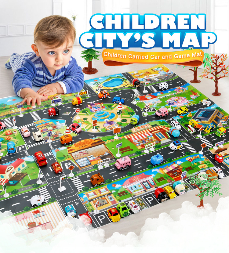 HTB1pt77hVGWBuNjy0Fbq6z4sXXau 39Pcs City Map Car Toys Model Crawling Mat Game Pad for Children Interactive Play House Toys (28Pc Road Sign+10Pc Car+1Pc Map)