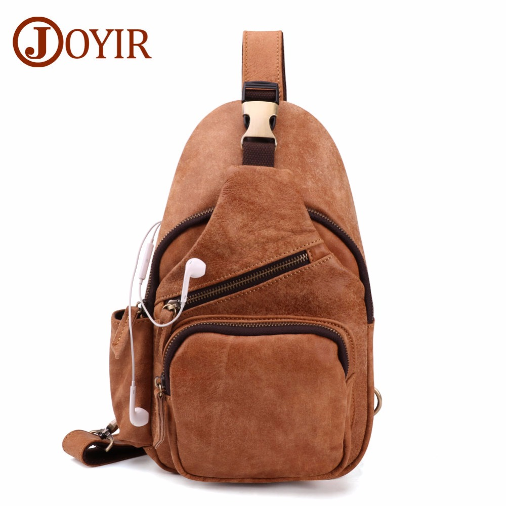 JOYIR Genuine Leather Men's Sling Chest Back Vintage Men Crossbody Bag Day Pack Travel Chest Bags Messenger Shoulder Bag 6409 men s genuine leather belt buckle back pack shoulder messenger unbalance sling chest bag