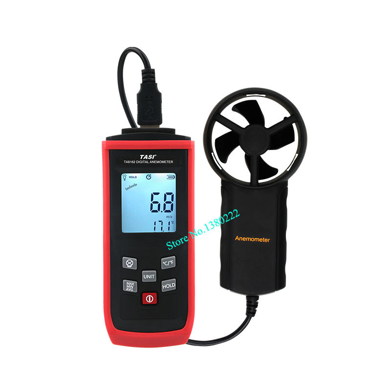 Digital Anemometer TA8162 0.3~30m/s LCD Digital Thermometer Electronic Hand-held Wind Speed Air Volume Measuring Meter high quality gm8901 with box 45m s 88mph lcd digital hand held wind speed gauge meter measure anemometer thermometer