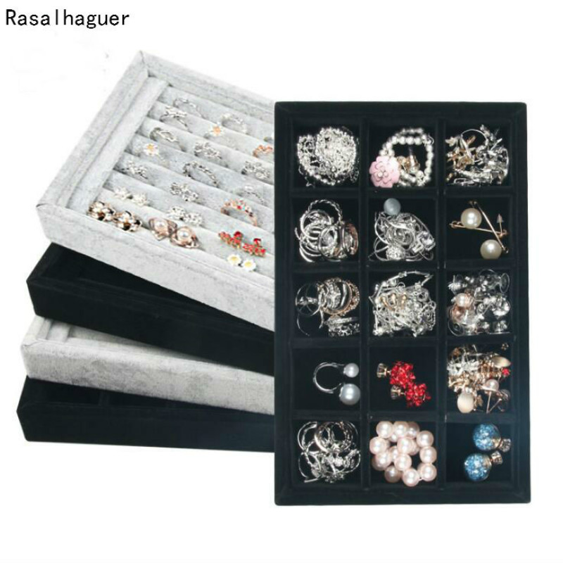 L22cm*W14cm*H3cm Small Jewelry Box Rings Organizer Earrings Tray Necklace Storage PU And Velvet Material Options Wholesale Price