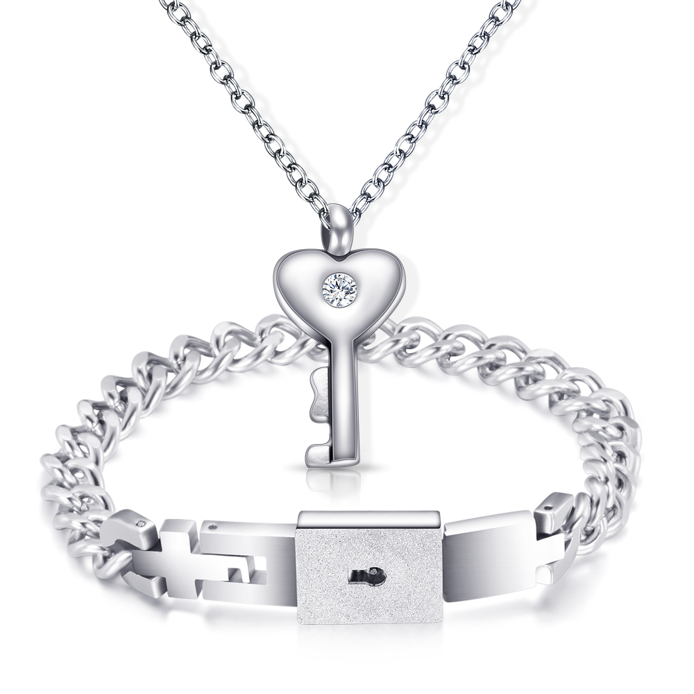 Jewelry Sets Stainless Steel Love Lock