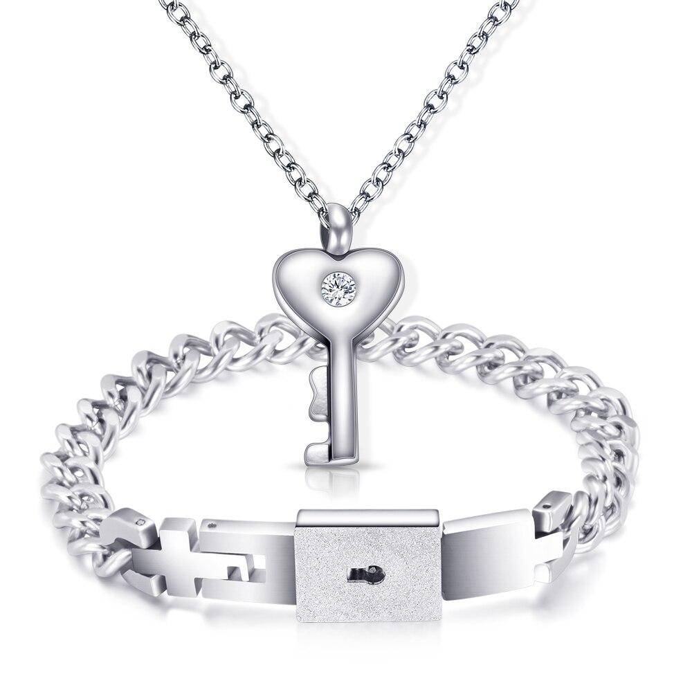 100% Wahr Ein Paar Schmuck Sets Edelstahl Liebe Lock Armbänder Armreifen Schlüssel Anhänger Halskette Paare