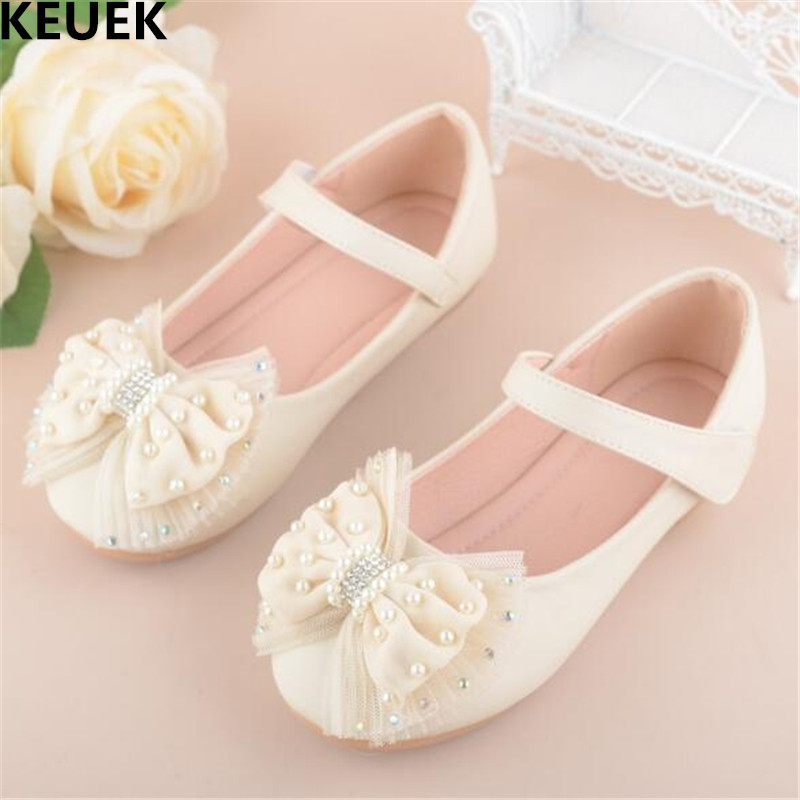 New Autumn Bowknot Shoes Children Princess Leather Shoes Girls Baby Lace Fashion Party Dance Shoes Kids Flats Student Shoes 04