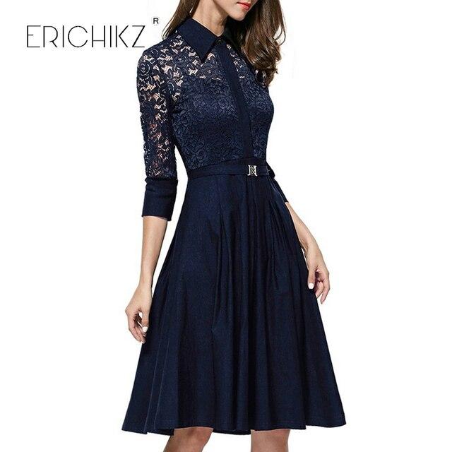 ERICHIKZ Autumn Audrey Hepburn vintage women Lace Waist Black big swing robe high quality dress Lady rockabilly party dresses