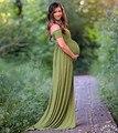 2017 fotografía de maternidad Props vestidos de maternidad de lujo ropa de embarazada Maxi vestido de algodón elástico fotografía vestido de maternidad