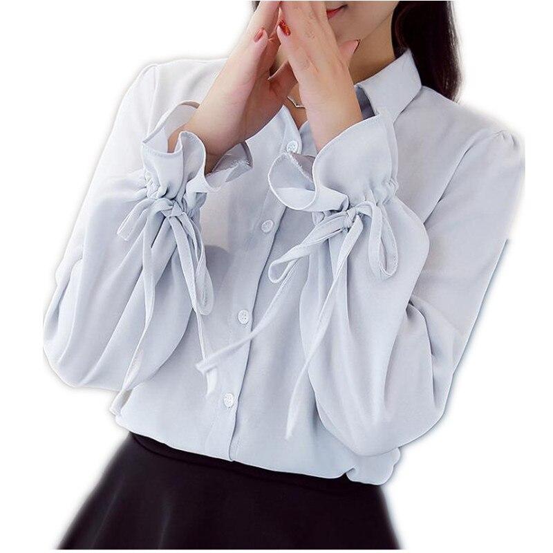 2018 New Spring Autumn Women Short Lantern Sleeve Loose   Blouses   Female Turn-Down Collar Chiffon Fashion Bow   Blouses     Shirt   CQ1397