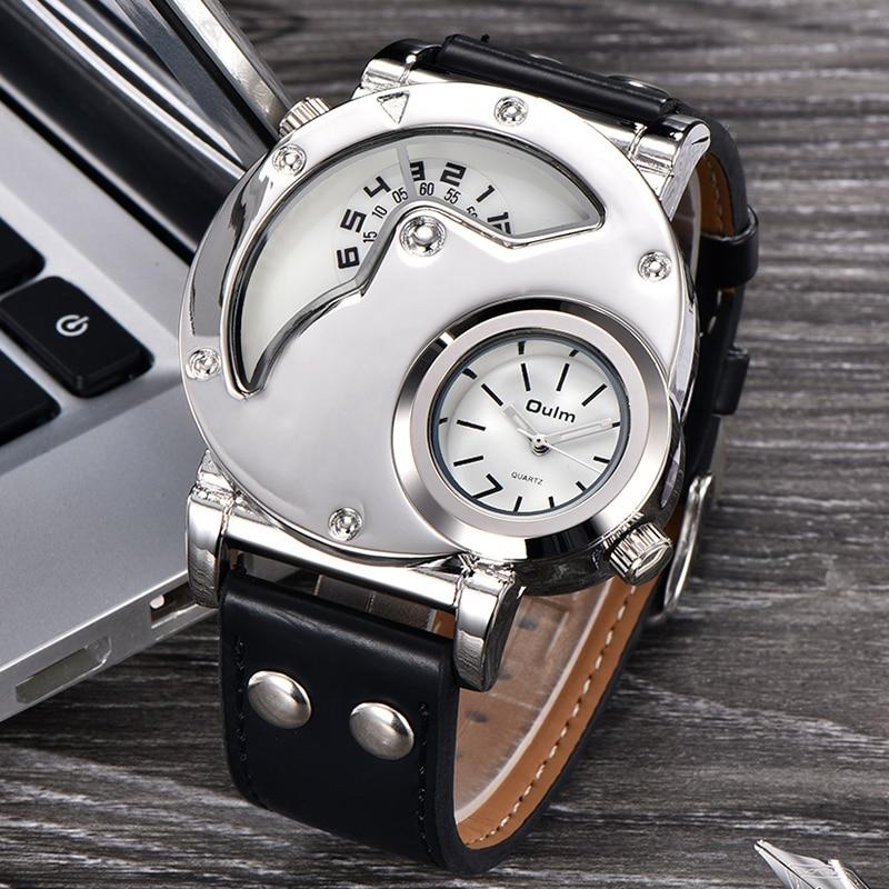 05 Montres Design Unique Multipe Fuseau  Bracelet En Cuir