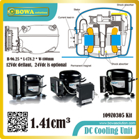 Fixed speed drive DC compressor for In car cabinets and all mobile applications for portable boxes, boats, trucks etc.