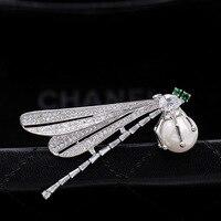 Фианит зеленый Украшенные стразами насекомых Стрекоза и броши для Для женщин мужской костюм Mother of Pearl Broch Jewelry X308