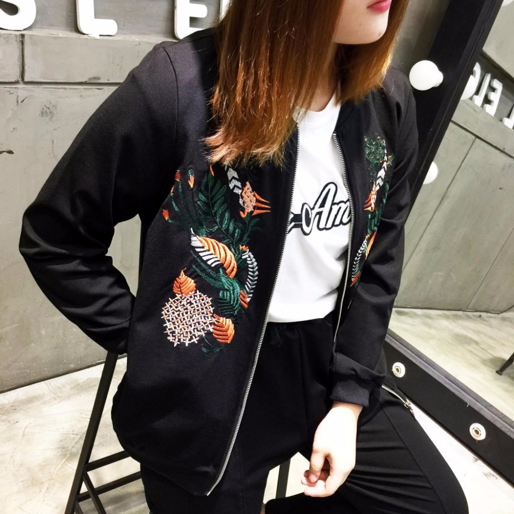 Extra large size women's autumn winter embroidered coat 456