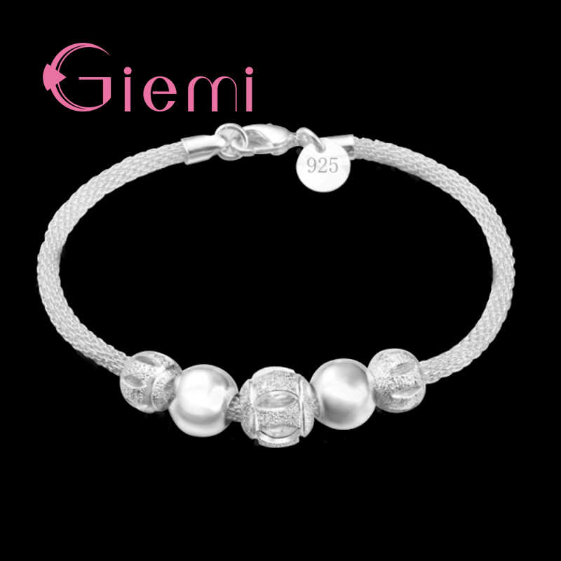 Free Shipping Exquisite High Quality Genuine 925 Sterling Silver Charm Bead Bracelet/Bangles For Ladies Women Jewelry Present
