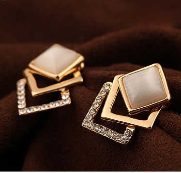 2014 New Style Korean Temperament OL Fashion Sparking Rhinestone  Geometry Square Opal Stud Earrings E3260