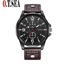 Hot Sales O.T.SEA Brand Leather Watches Men Casual Military Sports Quartz Wrist watch Relogio Masculino 8164