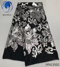 BEAUTIFICAL Black fabric african tulle mesh lace with silver color sequins embroidered 2017 New arrival nigerian JYN235