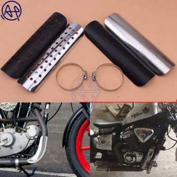 22,8 см мотоциклетный глушитель, теплозащитный чехол, защита для мотоцикла, универсальный для Honda, Harley, Chopper, Cruiser, черный/хромированный