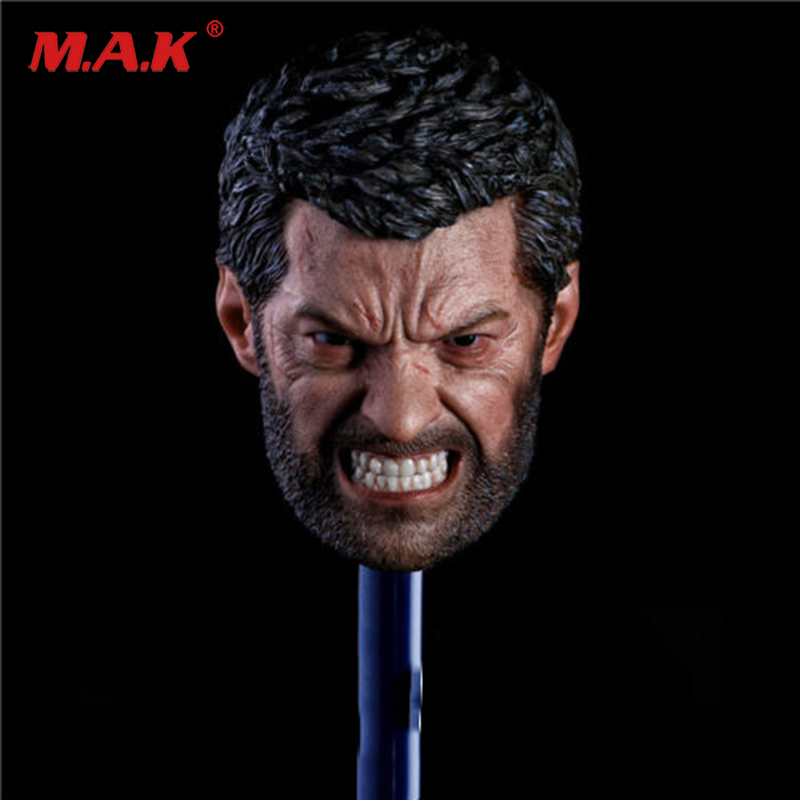 1/6 scale angry Logan Head sculpt Wolverine Hugh Jackman 1/6 head toy for 12'' action figure show his teeth model 1 6 scale wolverine 3 logan hugh jackman head sculpt for 12 figure hot toys male head carving soldier head model toys