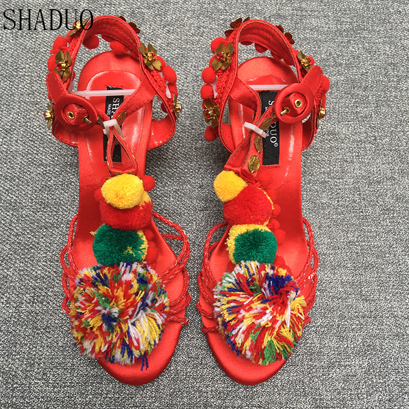 SHADUO Retro Women s wool ball high heels hand woven satin sandals hardware flower heel shoes