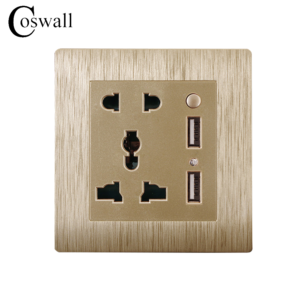 Coswall Brushed Wall Panel 5 Hole Universal Gold Power Socket With 2400mA...