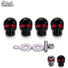 YOUNG.MOTO 4Pcs 5mm Black Chrome Motorcycle Skull License Plate Frame Bolts Screws Caps Motocross Accessories Fastener Nuts