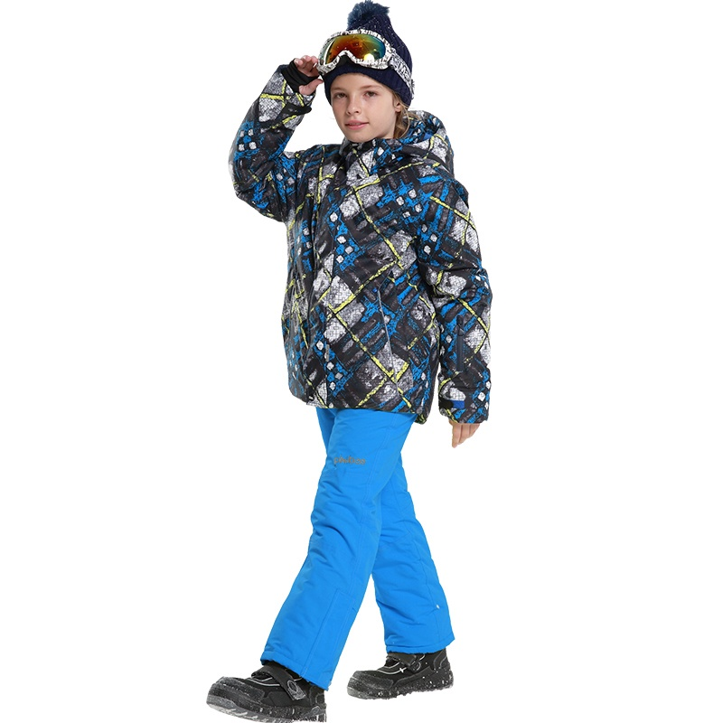 NEW 2017 Boys Winter Waterproof Windproof Ski Sets Kids Warm Ski Jacket Children Outdoor Hooded Snowboard Sports Suits 81729-30 children kids boys winter windproof padded jacket hooded jacket ski jacket high quality size 116 140