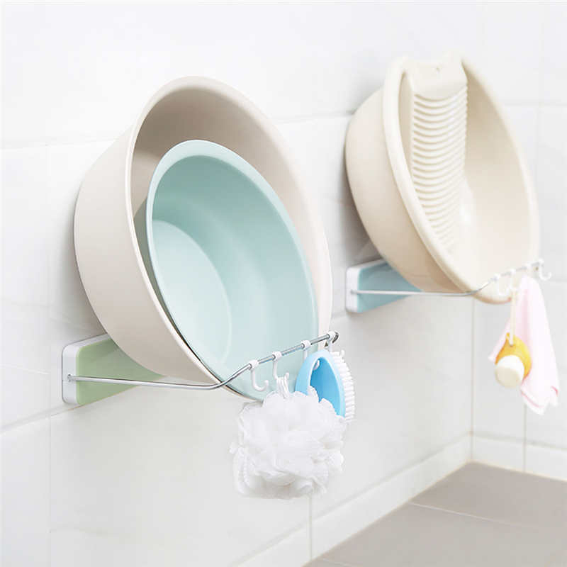 New listing High Quality Kitchen Storage Rack Folding Washbasin Stand Wall Mounted Washbasin Storage Rack Organizer Holder-in Racks & Holders from Home & Garden