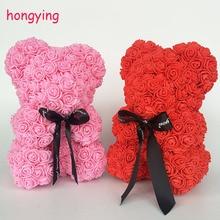 Розы Медведь День Святого Валентина плюшевые медведи 25 см высокий 14 цветов праздник высокого класса DIY подарки Рождество Подарочное свадебное украшение