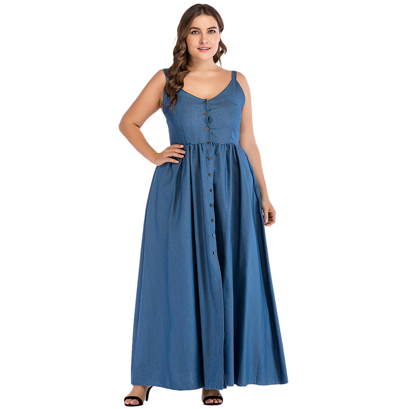 Sexy Women Oversize Denim Dress Spaghetti Strap Buttons Solid Split Jeans Dresses Long Maxi  Elbise Sundress Vestidos Plus Size