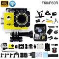 F60/f60r ação original câmera 4 k/30fps helmet cam subaquática 16mp wi-fi 170d ir à prova d' água pro esportes câmera gopro hero 4 estilo