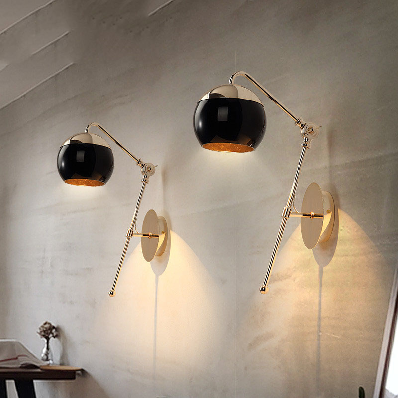 Modern Home Art Black Glass Ball Dining Room Wall Lamp Gold Metal Body Balcony Lights Cafe