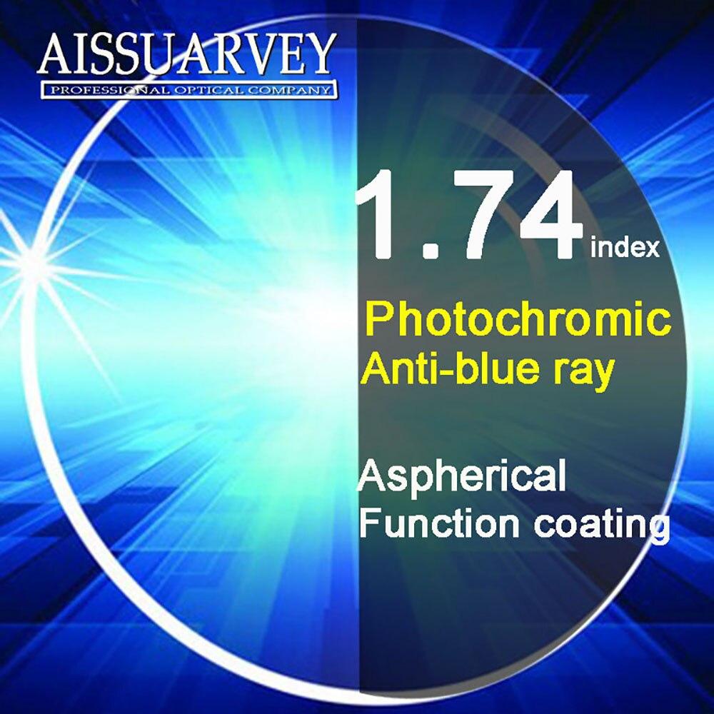 1,74 índice asférico Anti-Rayo Azul lentes fotocrómicos Cr-39 Anti-reflejo claro gris grado A alta calidad fina lente óptica