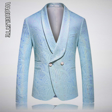VAGUELETTE Fashion 2 Buttons Blue Blazer Men Stage Jacket Coat For Singers Shawl Collar Stylish Tuxedos Blazer For Men M-5XL недорого
