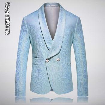 VAGUELETTE Fashion 2 Buttons Blue Blazer Men Stage Jacket Coat For Singers Shawl Collar Stylish Tuxedos Blazer For Men M-5XL